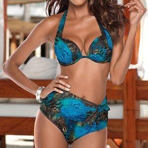 Venus Mystique Bikini Set 34C Small Blue Leopard